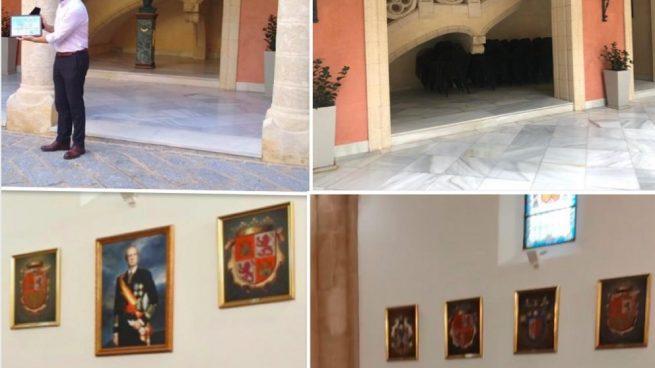 El PSOE elimina del Ayuntamiento de Rota un busto y un cuadro del Rey Juan Carlos I.