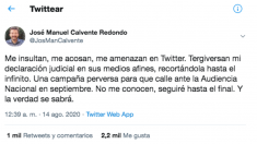 El mensaje publicado por el abogado José Manuel Calvente.