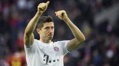 Lewandowski, durante un partido con el Bayern. (AFP)