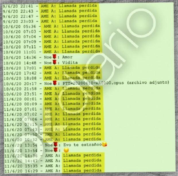 Registro de llamadas perdidas realizadas por Evo Morales a su presunta pareja Noemí Meneses Chávez.