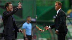Simeone y Nagelsmann, en el partido de Champions.
