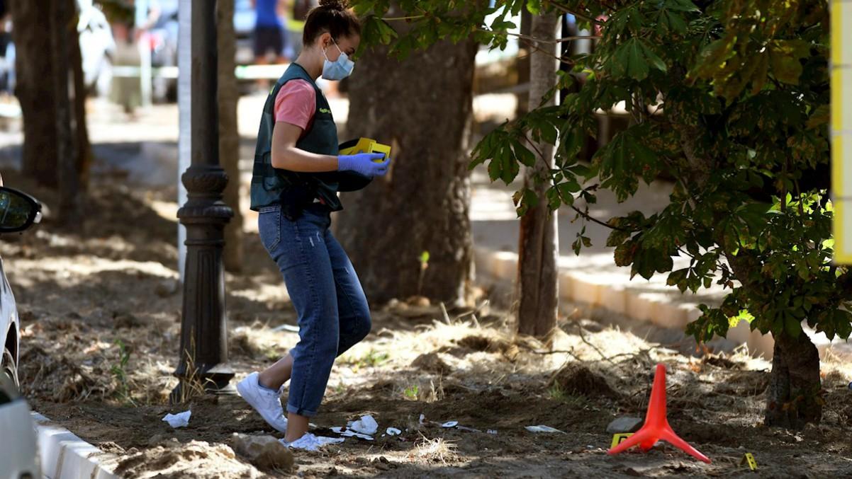 Una guardia Civil recoge pruebas en el lugar del crimen en La Granja (Segovia). Efe