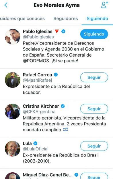Pablo Iglesias es el único español al que el fugitivo Evo Morales sigue en Twitter