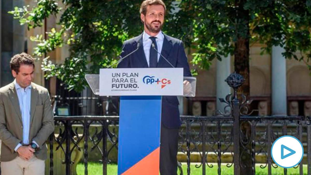 Pablo Casado durante el mitin celebrado este fin de semana en el País Vasco.