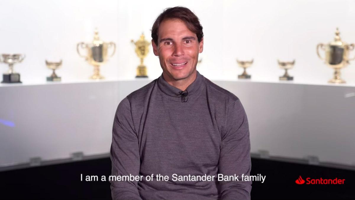 Rafa Nadal presenta su acuerdo con Banco Santander, en diciembre pasado