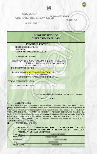 Informe secreto de la Policía Boliviana en el que se accede al teléfono móvil de la presunta pareja de 19 años de Evo Morales.