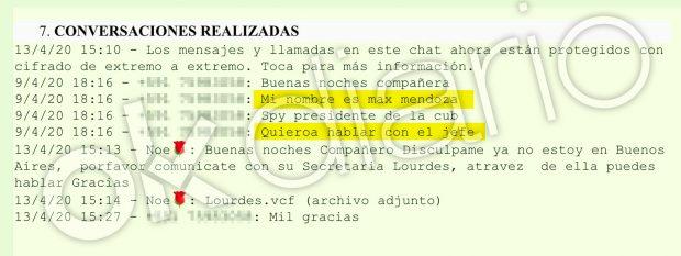 Conversación de Whtasapp entre Max Mendoza y la presunta pareja de 19 años de Evo Morales.
