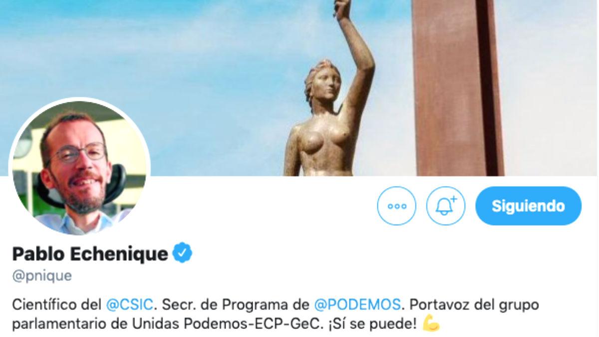 El perfil de Pablo Echenique en Twitter sin lucir la bandera de España.