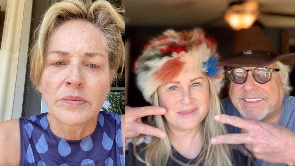 La actriz Sharon Stone (izqda) en el vídeo en el que relata la situación de su hermana y cuñado (dcha) a causa del coronavirus.