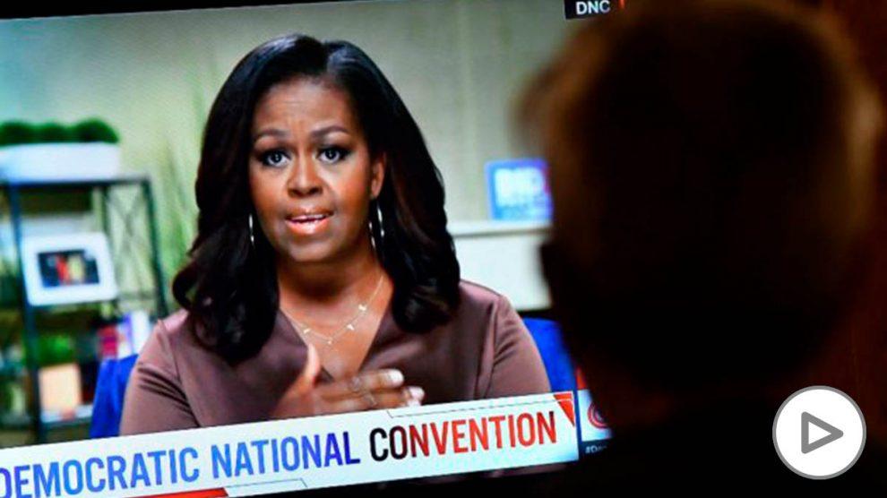 Michelle Obama durante la convención nacional del Partido Demócrata de EEUU que se celebró de forma virtual por el Covid. Foto: AFP