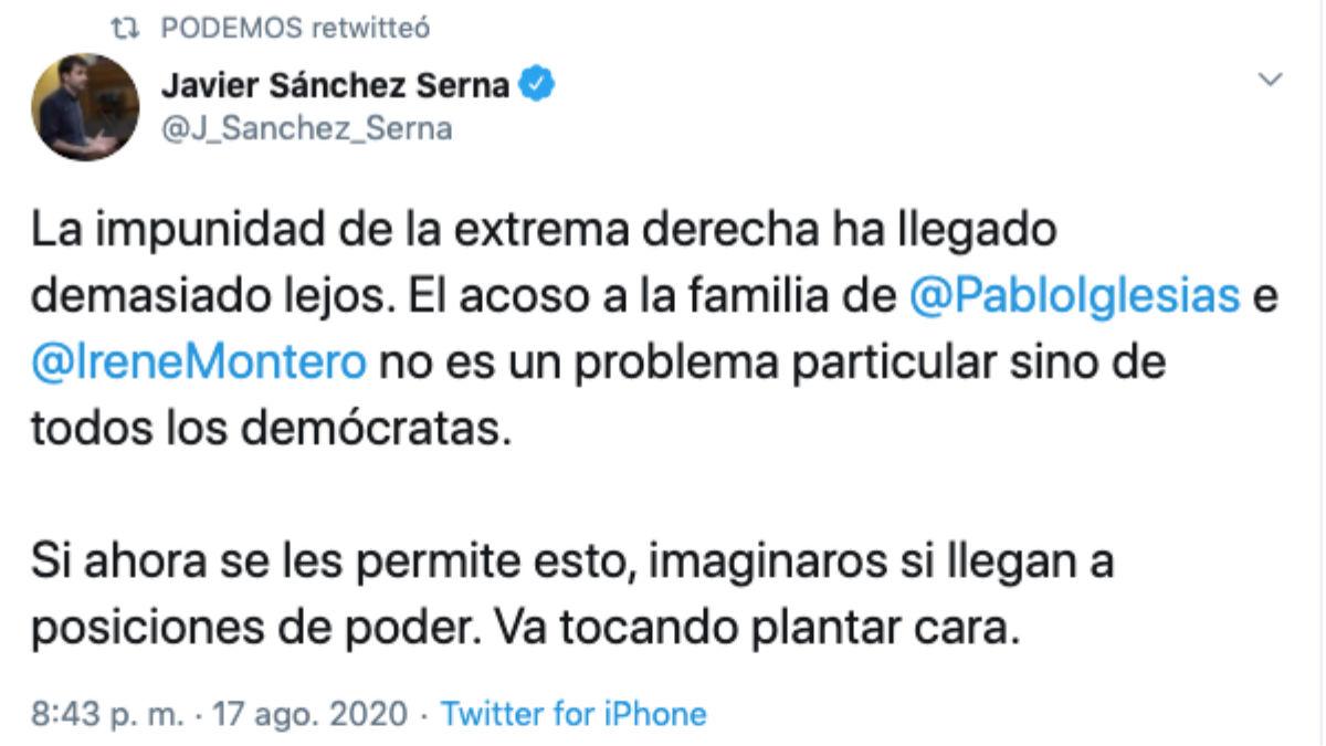 El tuit de Javier Sánchez Serna retuiteado por Podemos.