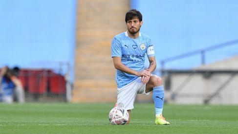 Silva, durante un partido con el City. (Getty)