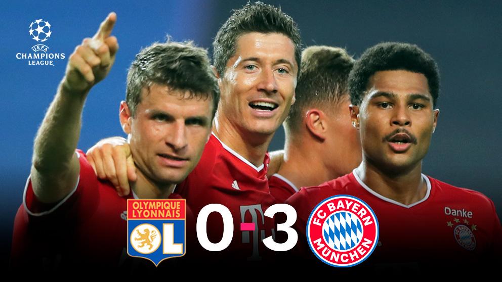 El Bayern goleó al Lyon y jugará la final de la Champions contra el PSG.