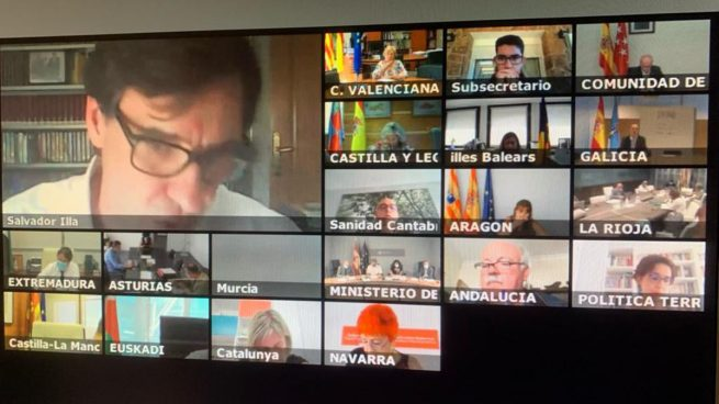 Salvador Illa con los responsables sanitarios de las comunidades autónomas.