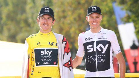 Froome y Thomas posan tras el triunfo del galés en el Tour de Francia de 2018. (Getty)