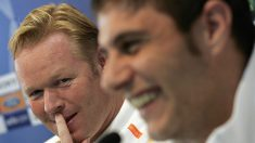 Koeman y Joaquín durante su etapa en el Valencia. (AFP)