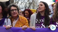 Irene Montero, en la manifestación del 8-M en Madrid.