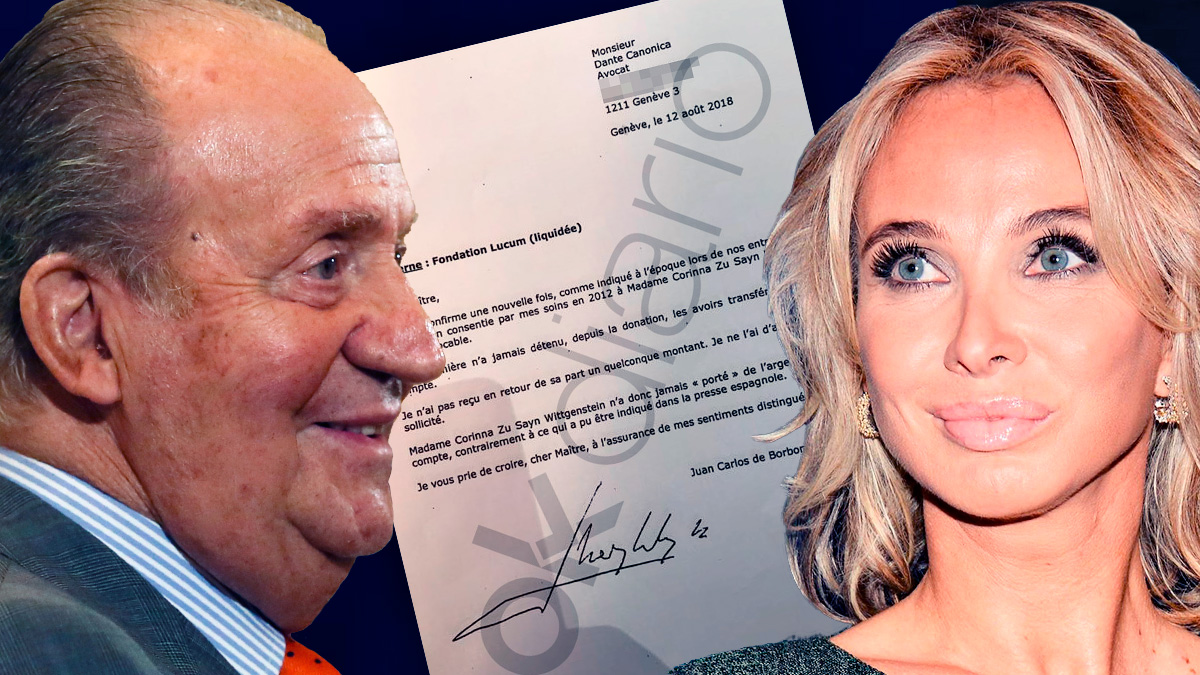 Corinna junto a la carta que el Rey Juan Carlos envió a su testaferro Dante Canonica en agosto de 2018.