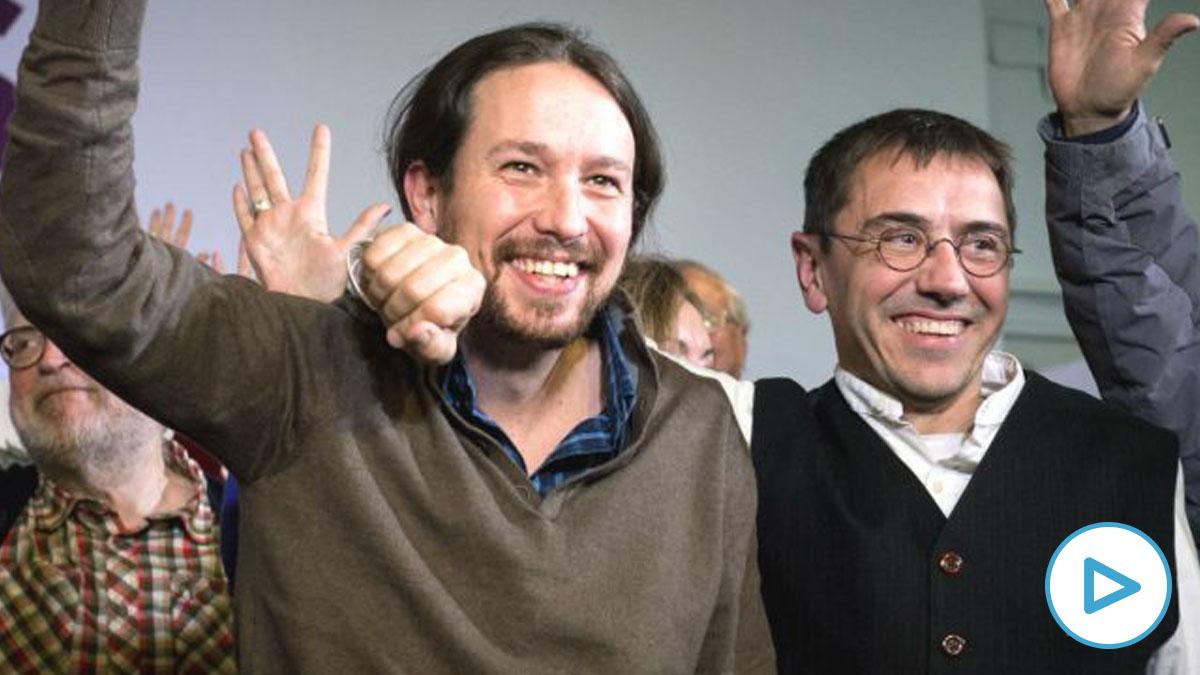 El secretario general de Podemos, Pablo Iglesias, con Juan Carlos Monedero