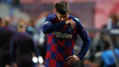 Piqué se lamenta durante el Barcelona – Bayern de Múnich. (AFP)