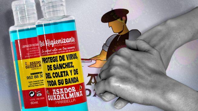 Un asador malagueño vende su propio gel que «protege del virus, de Sánchez, del coleta y de toda su banda»