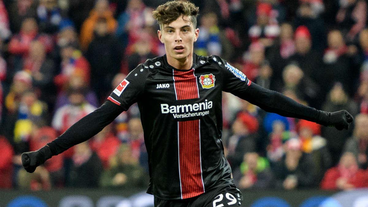 Havertz celebra un gol con el Bayer Leverkusen. (Getty)