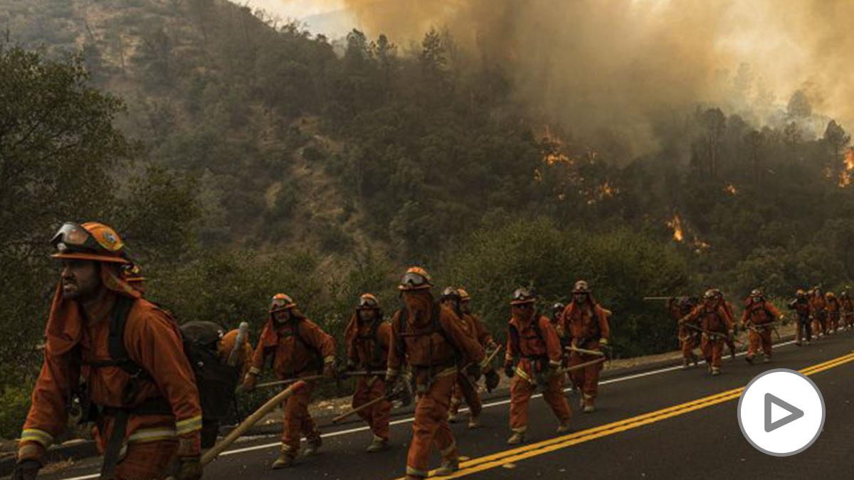 Un grupo de bomberos durante las tareas de extinción de los incendios de California.