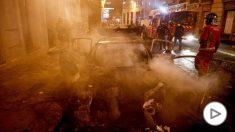 Imagen de los disturbios que se han producido en París tras la derrota del PSG. (Afp)