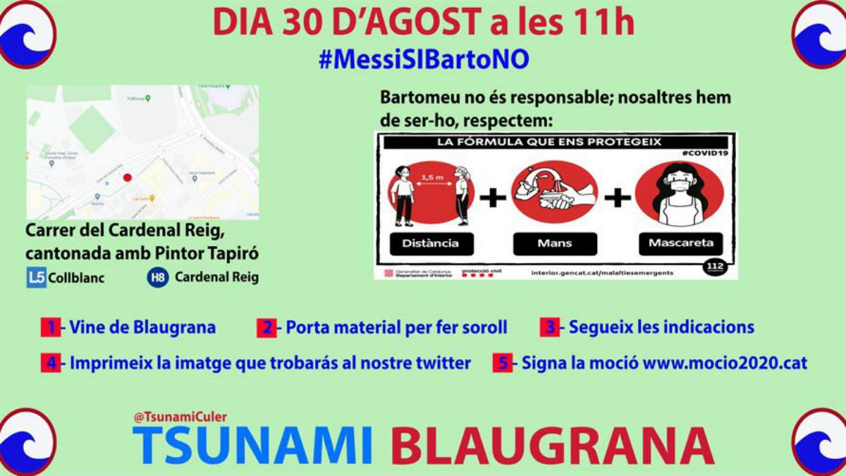 Manifestación convocada este domingo a favor de Messi y contra Bartomeu.