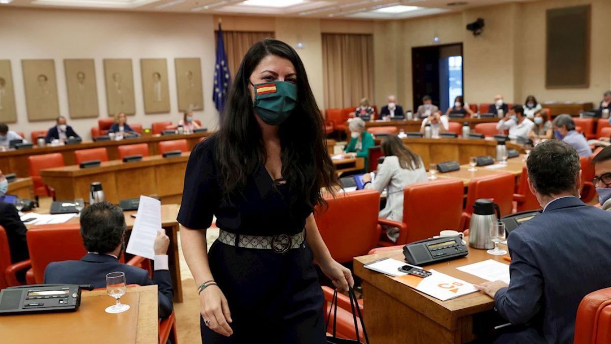 Macarena Olona, portavoz adjunta de Vox, en la Diputación Permanente del Congreso. (Foto: EFE)