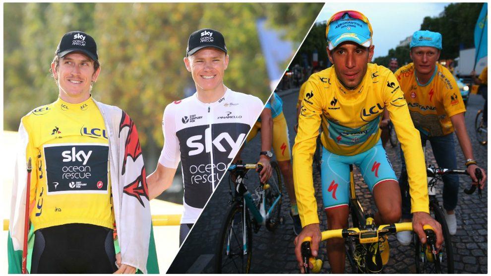 De derecha a izquierda, Thomas, Froome y Nibali, ausentes del Tour.