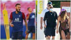 Neymar, con Anitta saliendo de un restaurante en Ibiza.