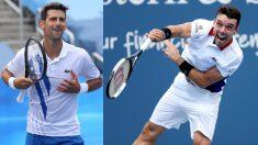 Djokovic y Bautista. (AFP)