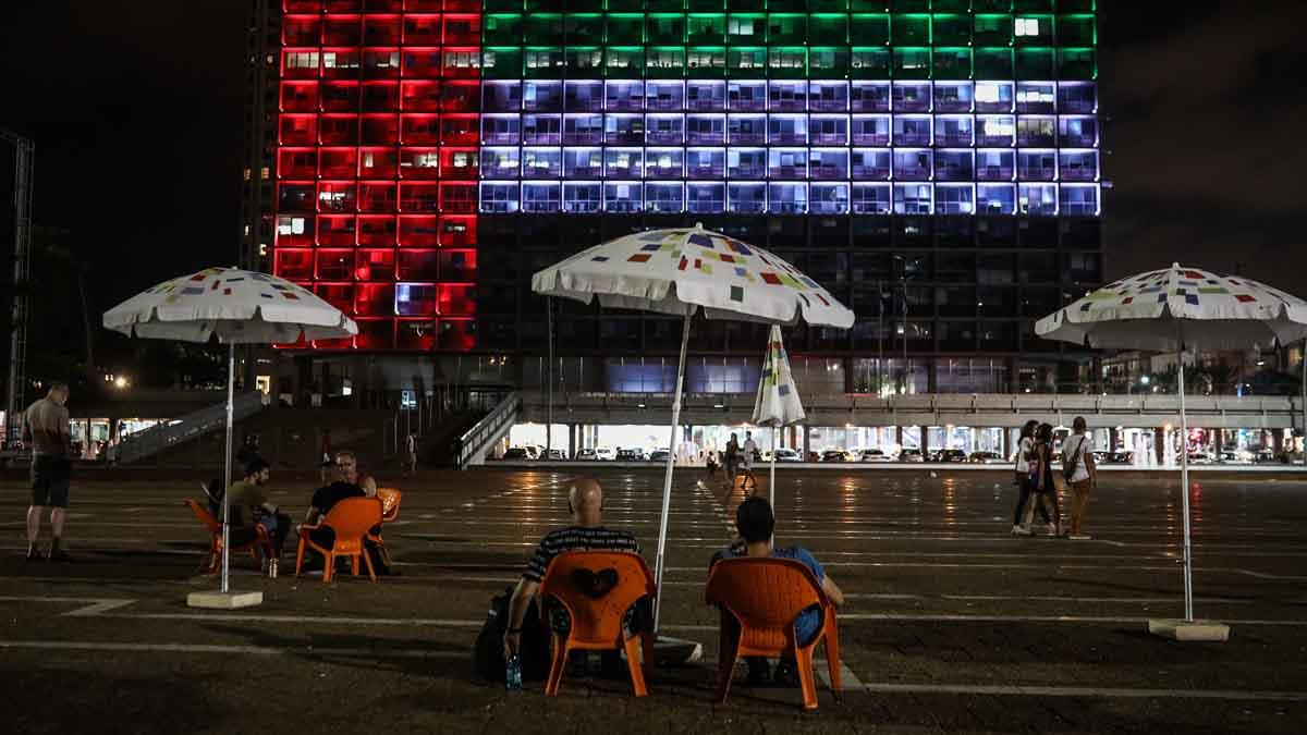 Bandera emiratí en Tel Aviv