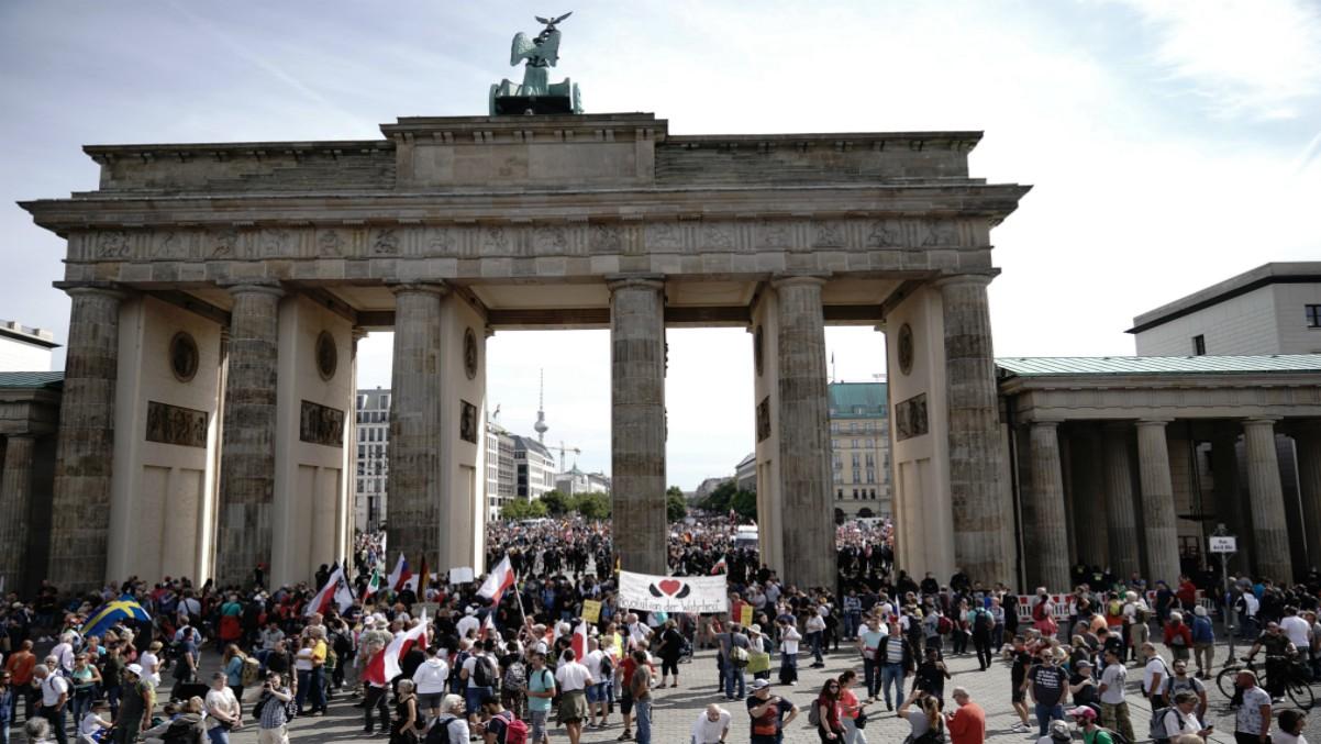 Marcha negacionista del Covid en Berlín. Foto: Europa Press