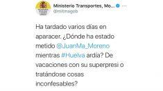 Tuit desde la cuenta del Ministerio de Transportes.