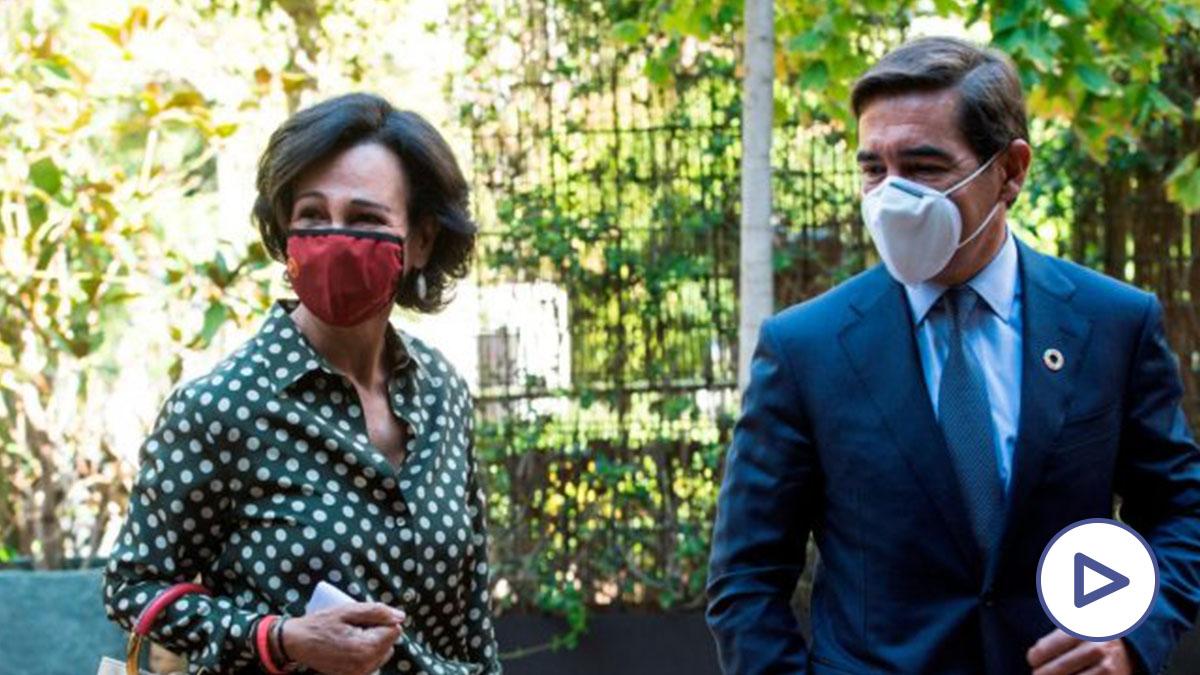 La presidenta del Banco Santander, Ana Patricia Botín (i) y el presidente del BBVA, Carlos Torre (d) a su llegada a la conferencia «España puede. Recuperación, Transformación, Resiliencia