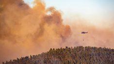 Imagen de este sábado del Incendio en Almonaster la Real (Huelva). Foto: EP