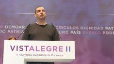 Miguel Guerrero interviniendo en Vistalegre 2 en el año 2017. (Foto: Podemos)