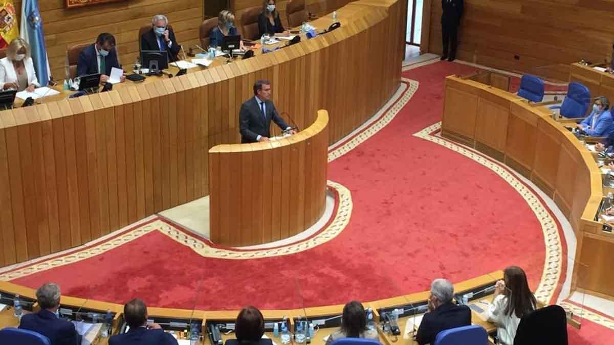 El candidato del PPdeG a la Presidencia de la Xunta, Alberto Núñez Feijóo, en la sesión de investidura de la XI Legislatura. Foto: EP