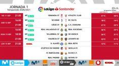Estos son los horarios de la primera jornada de Liga.