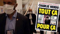 El abogado defensor de la revista francesa Charlie Hebdo llegando a la corte judicial de Francia. Al lado la portada publicada por el semanario rescatando las caricaturas de Mahoma.