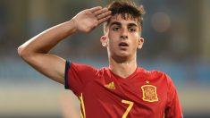 Ferran Torres en un partido con España. (AFP)