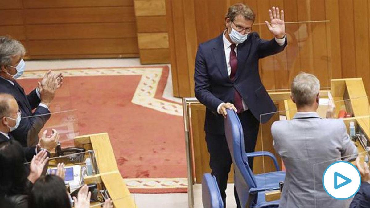 Alberto Núñez Feijóo agradece su investidura como presidente de la Xunta para la XI Legislatura. Foto: EFE