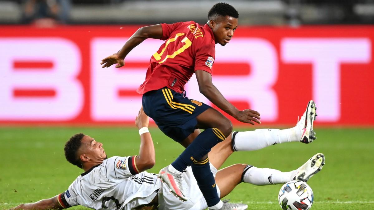Ansu Fati, en el partido ante Alemania. (Getty)