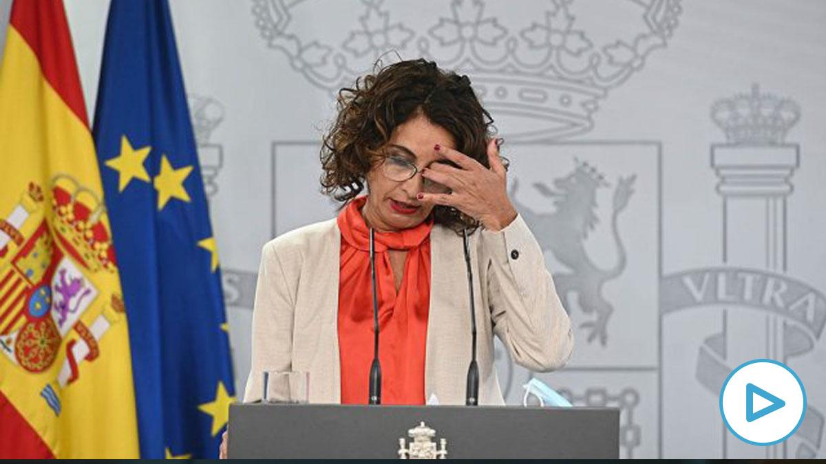 María Jesús Montero, en la rueda de prensa tras la reunión entre Pedro Sánchez y Pablo Casado.