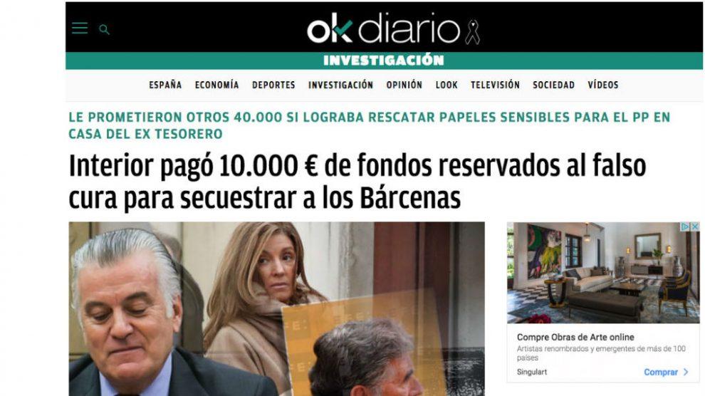 OKDIARIO desveló el 10 de diciembre de 2018 que el Ministerio de Interior pagó con fondos reservados al 'falso cura', Enrique Olivares, para secuestrar a la familia Bárcenas.
