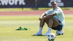 Adama Traoré, durante un entrenamiento con España. (RFEF)
