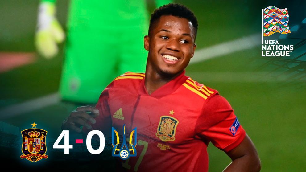 España goleó a Ucrania gracias a un gran Ansu Fati.