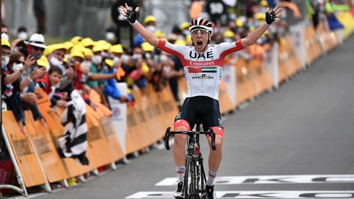 Pogacar celebra una victoria. (AFP)